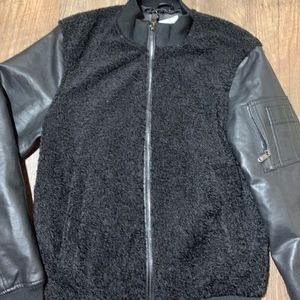 New Men's Zara Black Faux Leather / Shearling